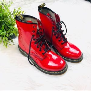 New Red Shiny Dr. Marten's Lace up boots 10
